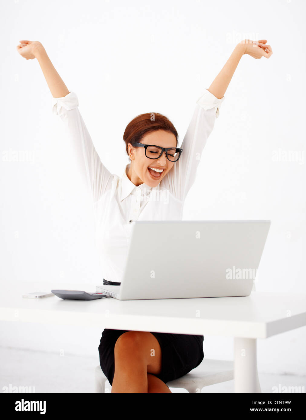 Businesswoman rejoicing - Stock Image