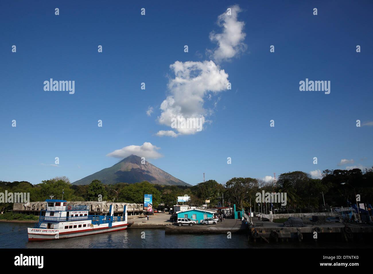 La Concepcion Volcano, Moyogalpa ferry landing, Ometepe Island, Nicaragua Stock Photo