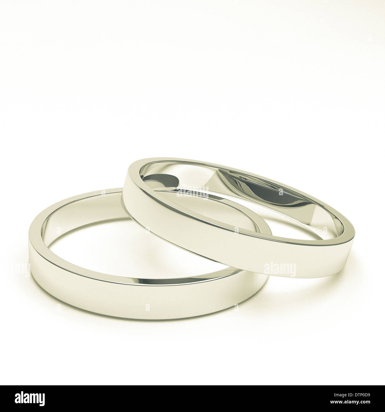 silver or platinum wedding rings - Stock Image