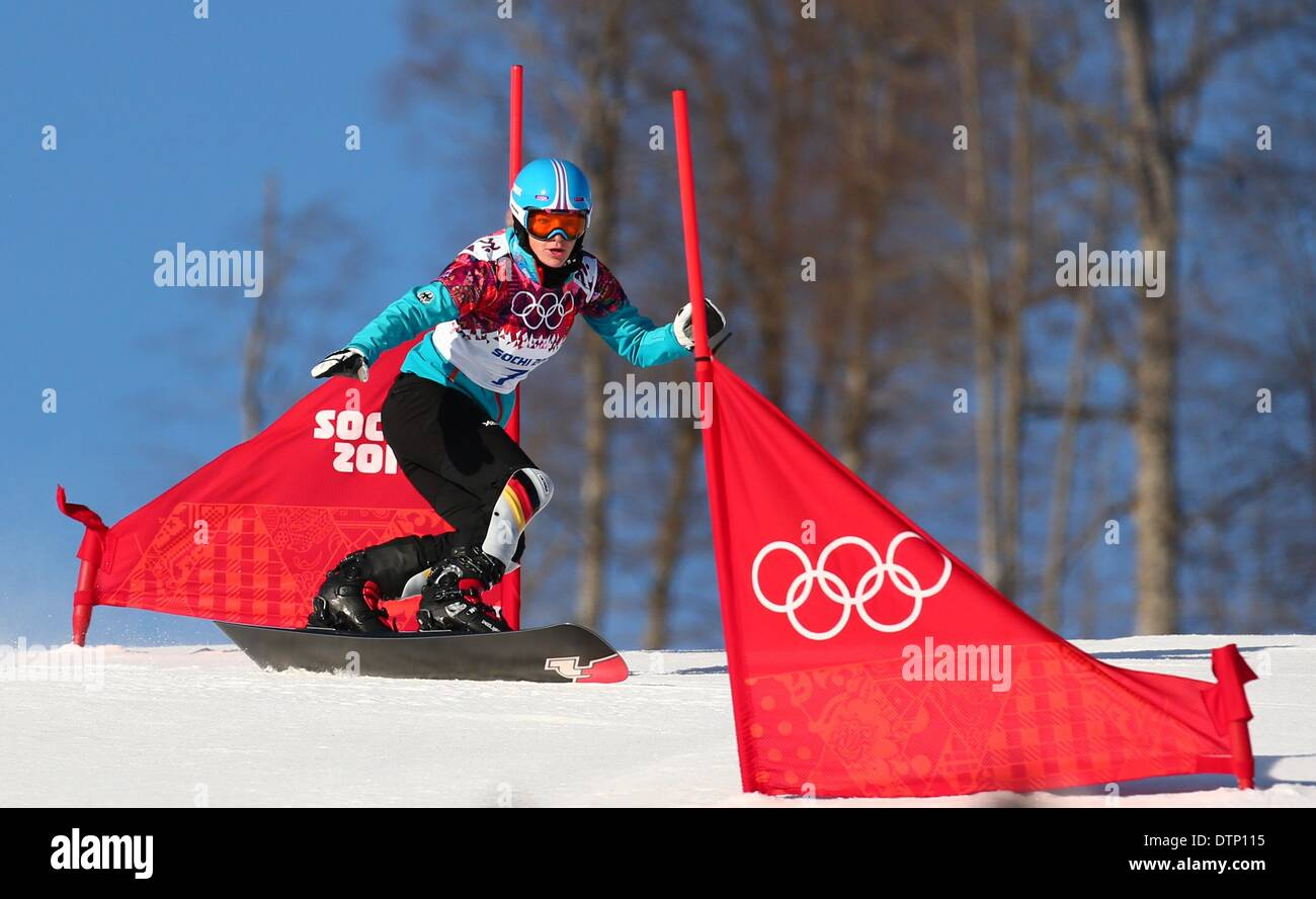 Sochi, Russia. 22nd February 2014. Selina Joerg of Germany in action during the Ladies' Snowboard Parallel Slalom - Stock Image