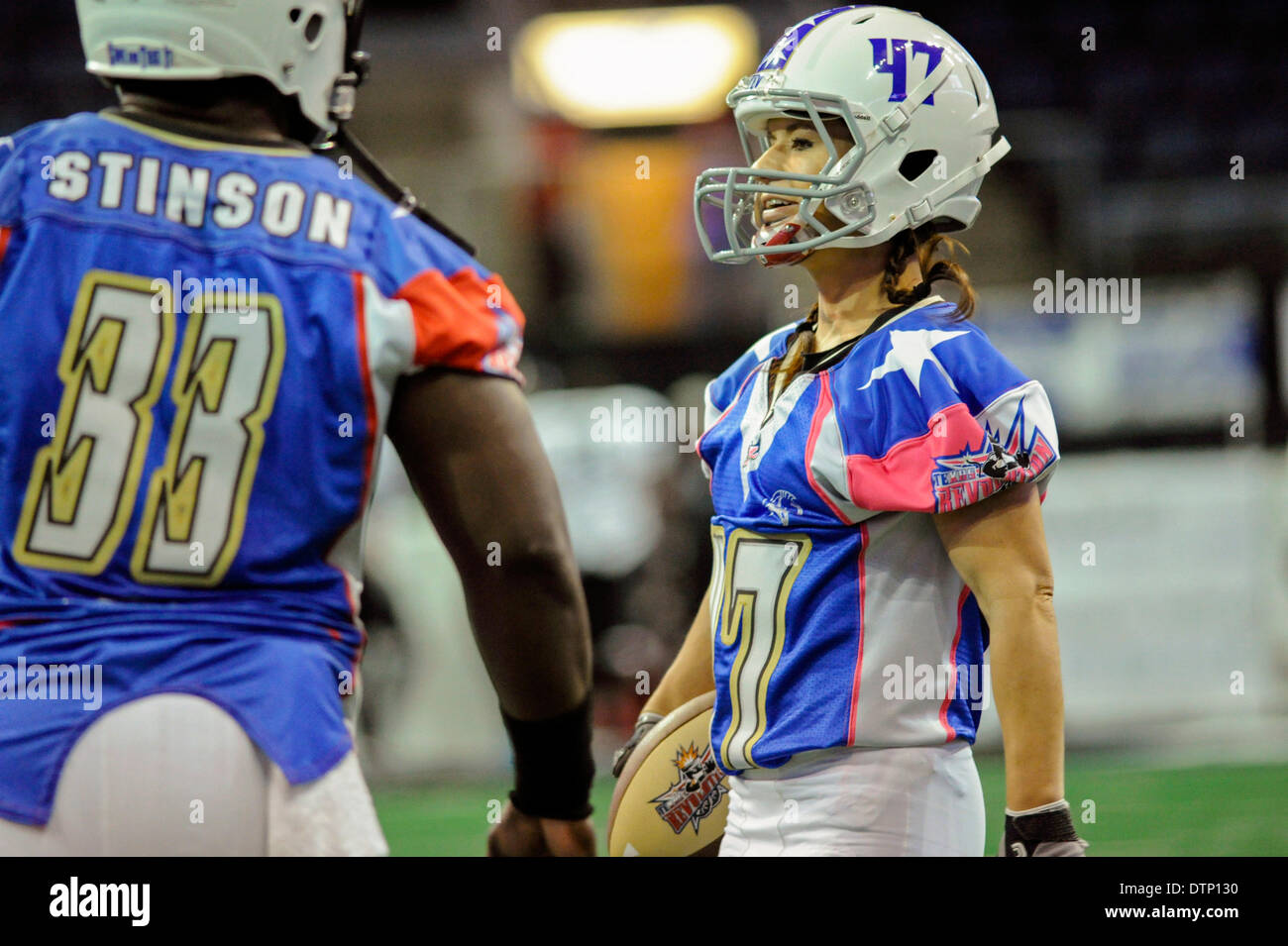 Allen, TX, USA. 21st Feb, 2014. Texas Revolution running back Jennifer Welter (47) during pre game warmups prior Stock Photo