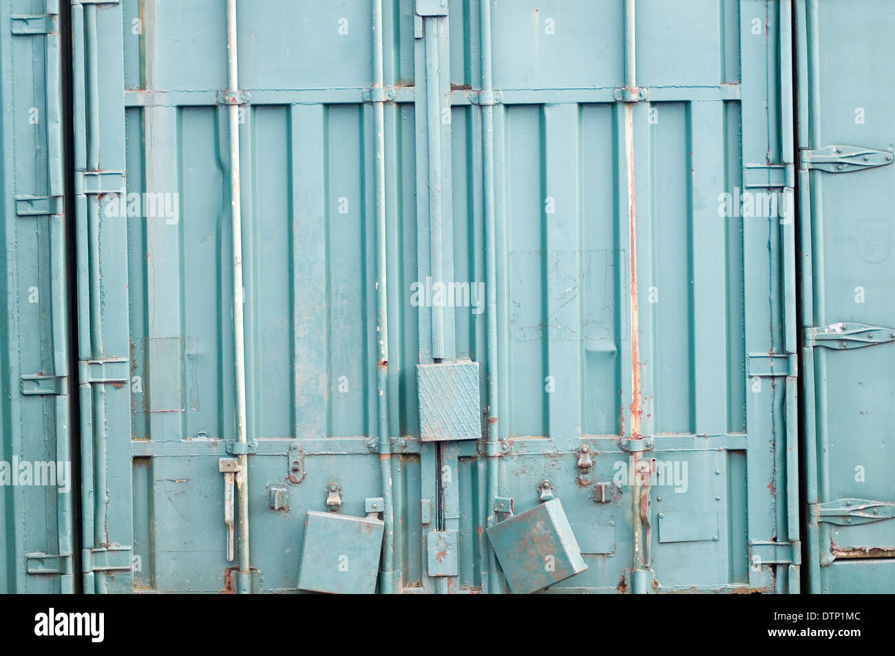 shipping containers container locked lock locks secure security Stock Photo