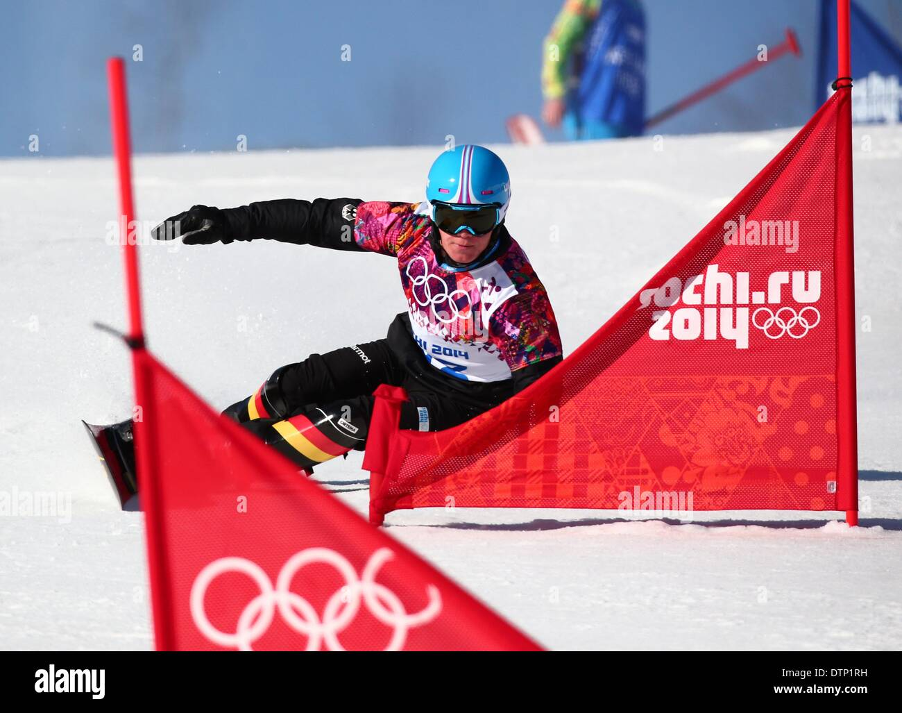 Sochi, Russia. 22nd February 2014. Stefan Baumeister of Germany in action during the Men's Snowboard Parallel - Stock Image