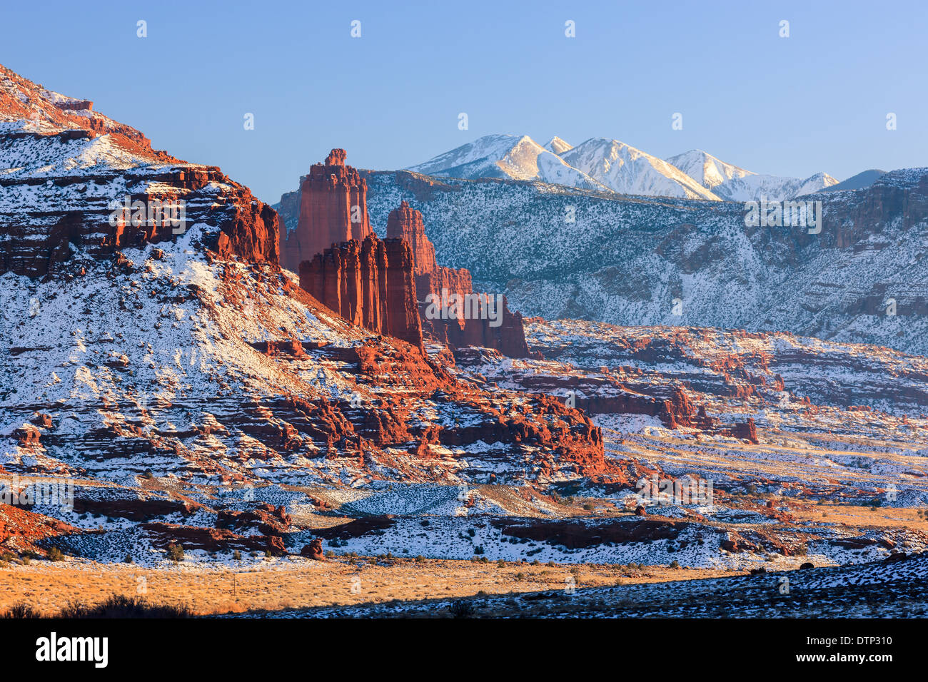 Winter sunset at the Fisher Towers, near Moab, Utah - USA - Stock Image