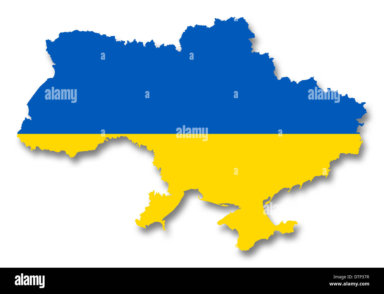 Map and flag of Ukraine - Stock Image