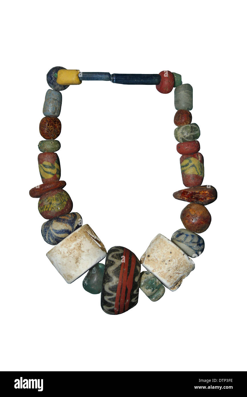 Glass and Amber Anglo-Saxon Bead Necklace - Stock Image