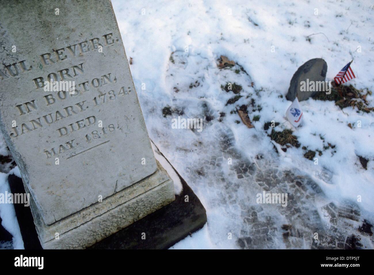 Boston. USA. Gravestone of Paul Revere in the Granary Burying Ground Stock Photo
