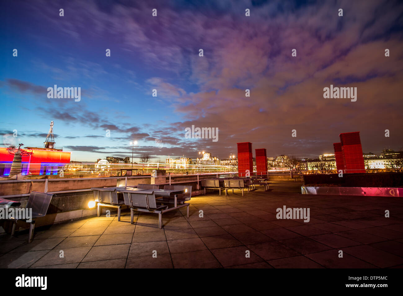 london roofs, and landscape of the city from the terrace of the national theater , long exposure, colorful skyline of the city - - Stock Image