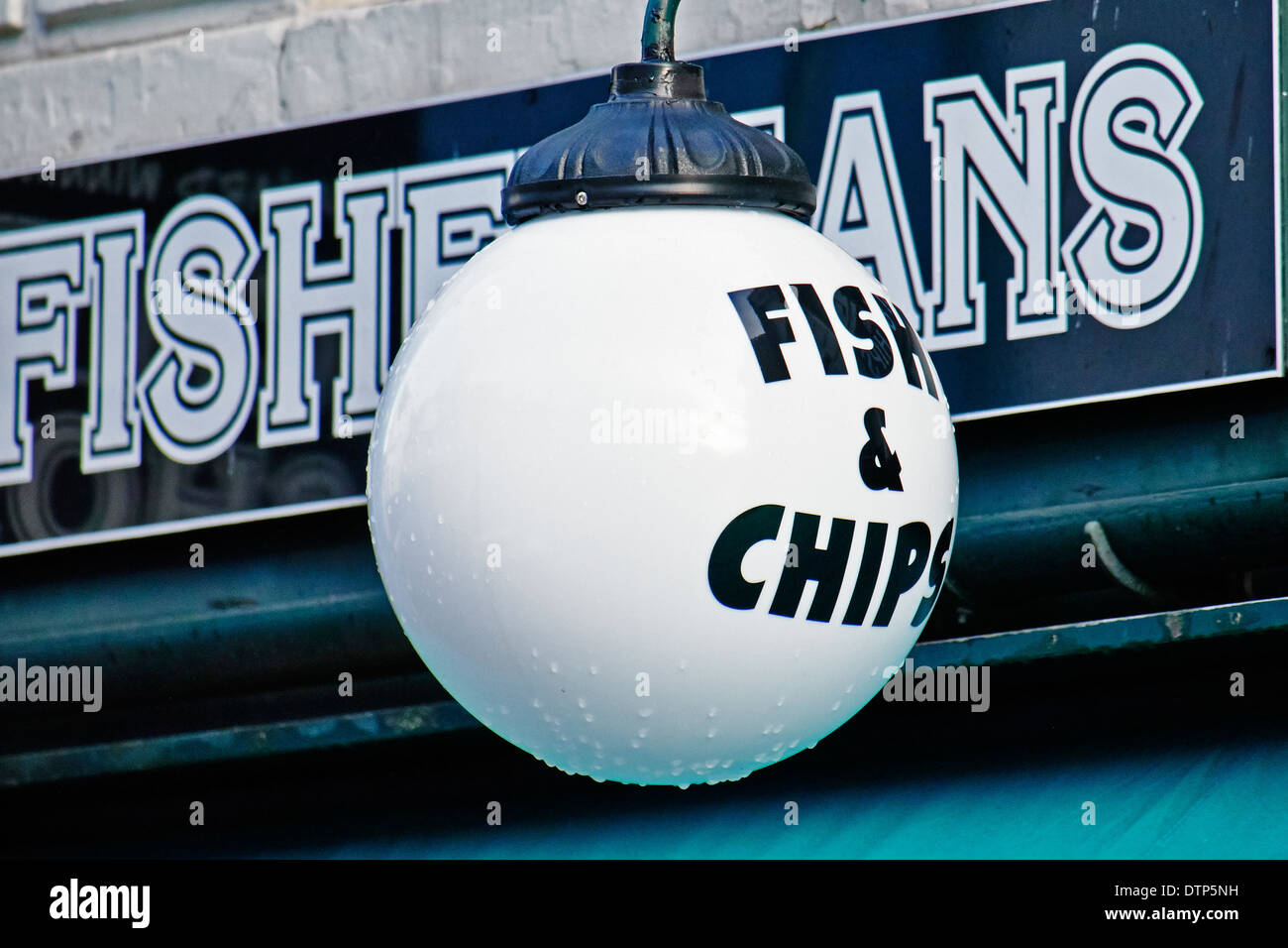 A sign outside a Fish and Chip shop. Stock Photo