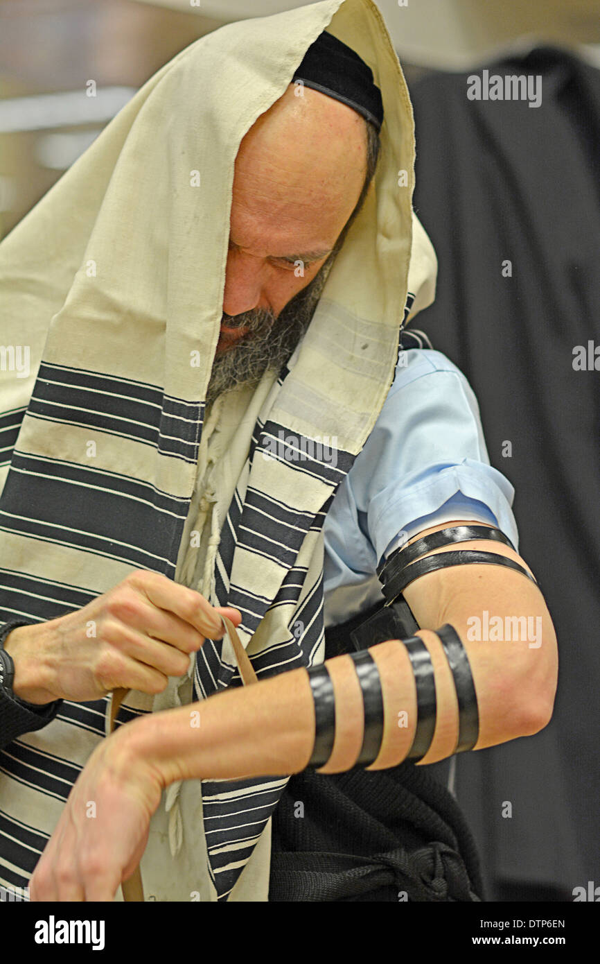 Religious Jewish man putting on phylacteries, teffilin, at morning services at a synagogue  in Brooklyn, New York. - Stock Image