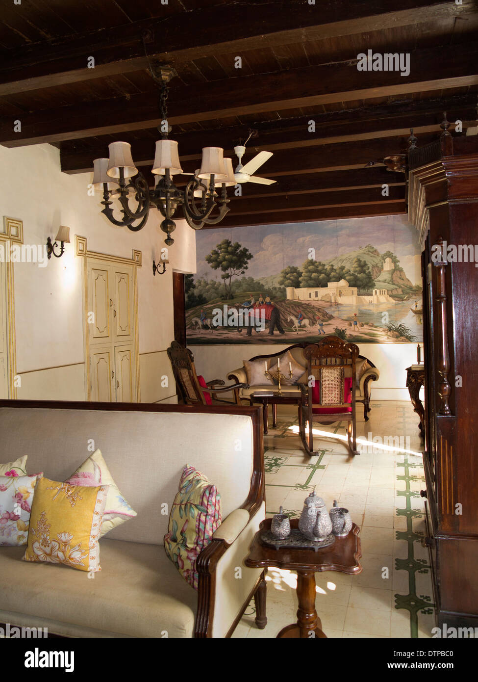 India, Goa, Siolim House, Portuguese colonial era mansion accommodation, sitting room interior - Stock Image