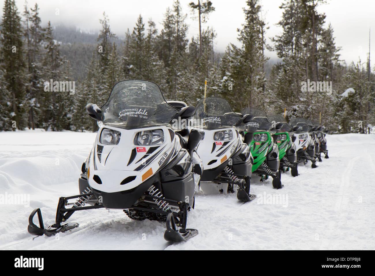 Snowmobile Tour through the Yellowstone National Stock Photo