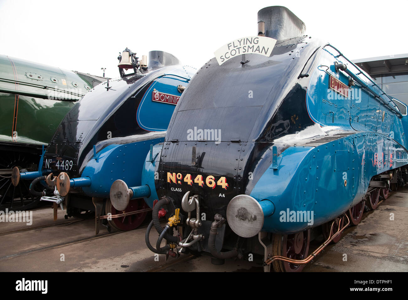 Class A4 Steam Locomotives 'Bittern' and 'Dominion of Canada' at the Mallard 75 Gathering, Shildon National Railway Museum - Stock Image