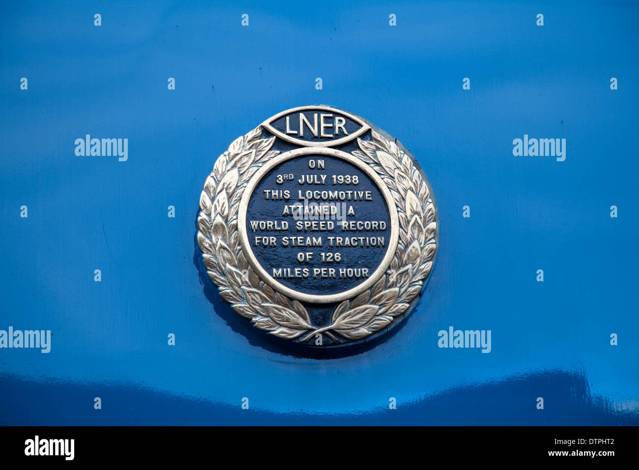 Badge commemorating the World Speed Record for steam traction, as achieved by the 'Mallard' Class A4 steam locomotive in 1938. - Stock Image