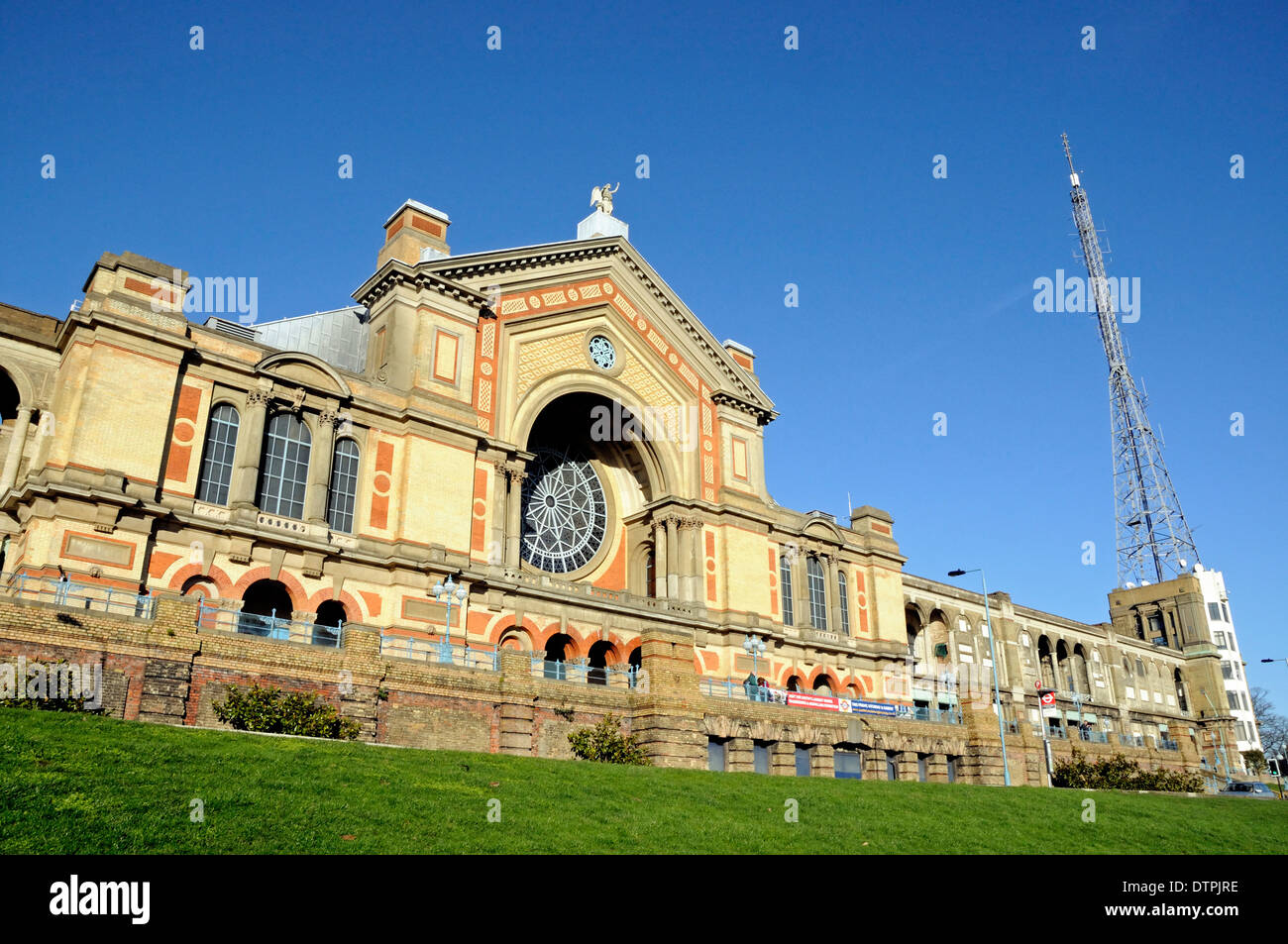 Alexandra Palace with television transmitter, London Borough of Haringey, England UK - Stock Image