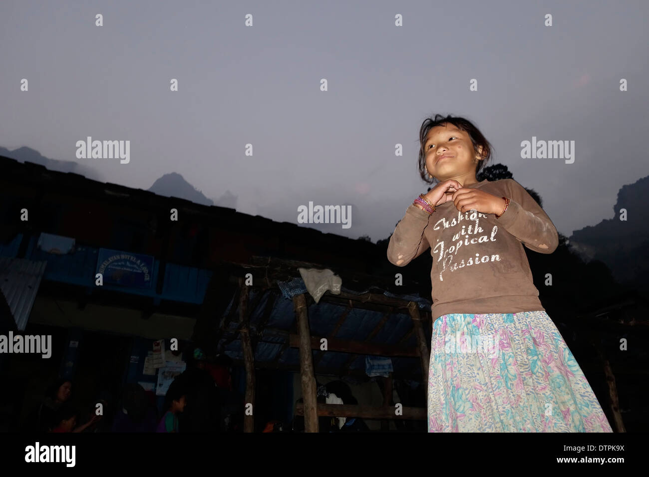 Nepalese girl in the village of Dobhan, Nepal. - Stock Image