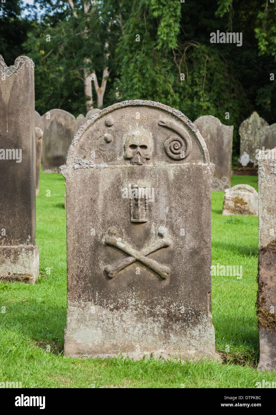 Old Grave Stone In An English Churchyard - Stock Image