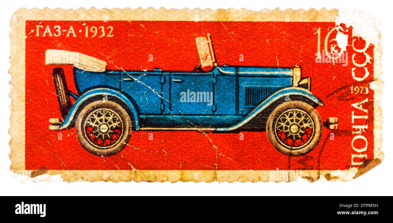 USSR - CIRCA 1973: A stamp printed in USSR shows the GAZ-A Car (1932), series, circa 1973 - Stock Image