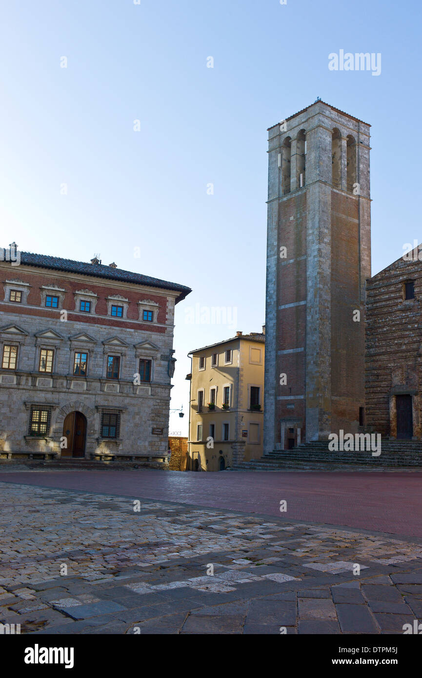 The Campanile of the Duomo and the Palazzo Contucci, Piazza Grande, Montepulciano, Tuscany, Italy - Stock Image