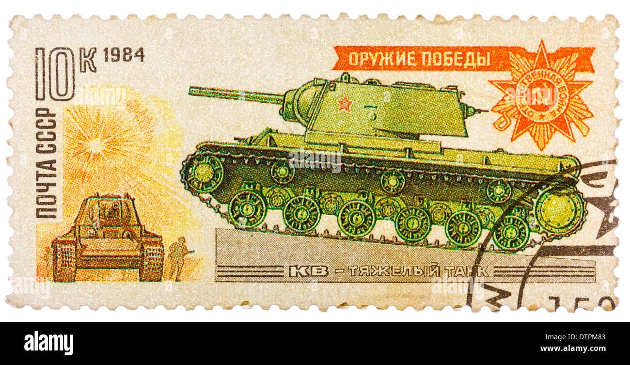 USSR - CIRCA 1984: Stamp printed in the USSR shows a soviet WWII era Klim Voroshilov KV tank, circa 1984 - Stock Image