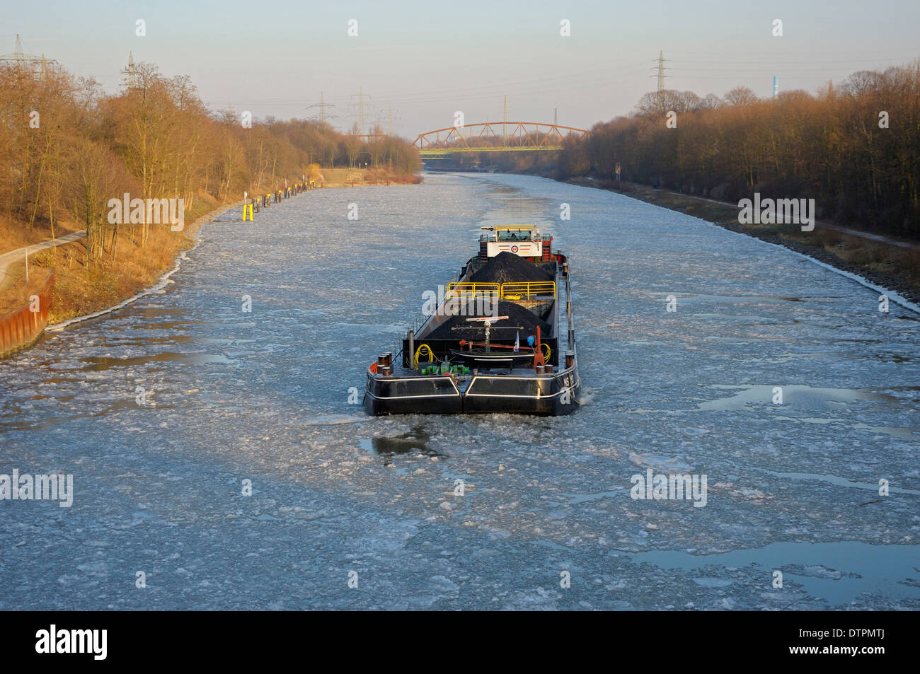 Rhine-Herne canal, Rhein-Herne-Kanal, February, Oberhausen, North Rhine-Westphalia, Germany - Stock Image