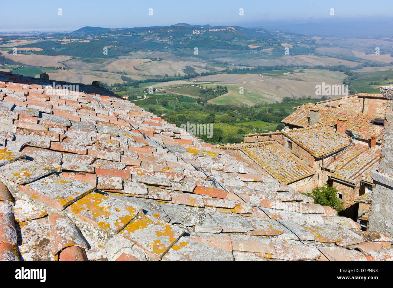 View from the rooftop of the Palazzo Comunale in the hill town of Montepulciano, Tuscany, Italy - Stock Image