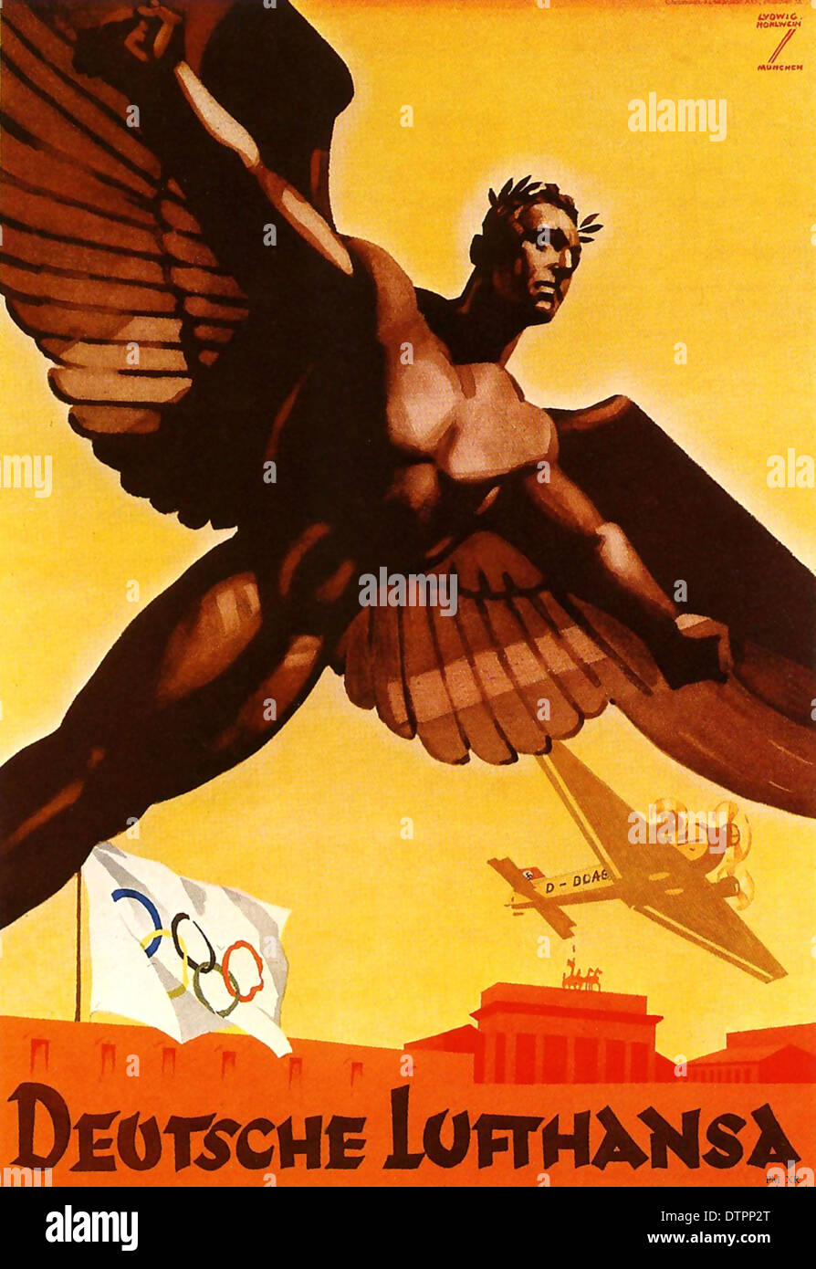 German propaganda poster promoting Lufthansa airlines during Olympics games in Berlin 1936 Germany - Stock Image