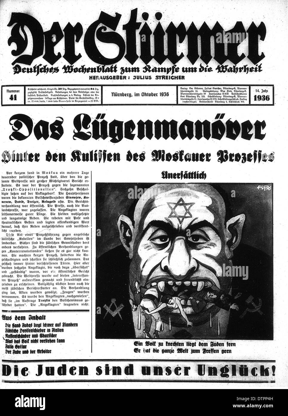 Frontpage of Der Sturmer a weekly Nazi German newspaper published by Julius Streicher from 1923 to the end of War 2.in which the Jew is shown as an ugly, angry looking man. - Stock Image
