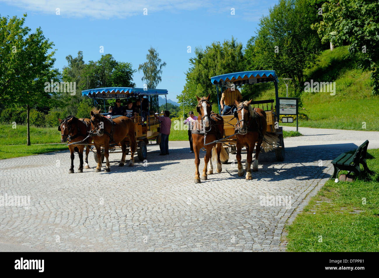 Carriages, Herrenchiemsee, Chiemsee, Bavaria, Germany - Stock Image