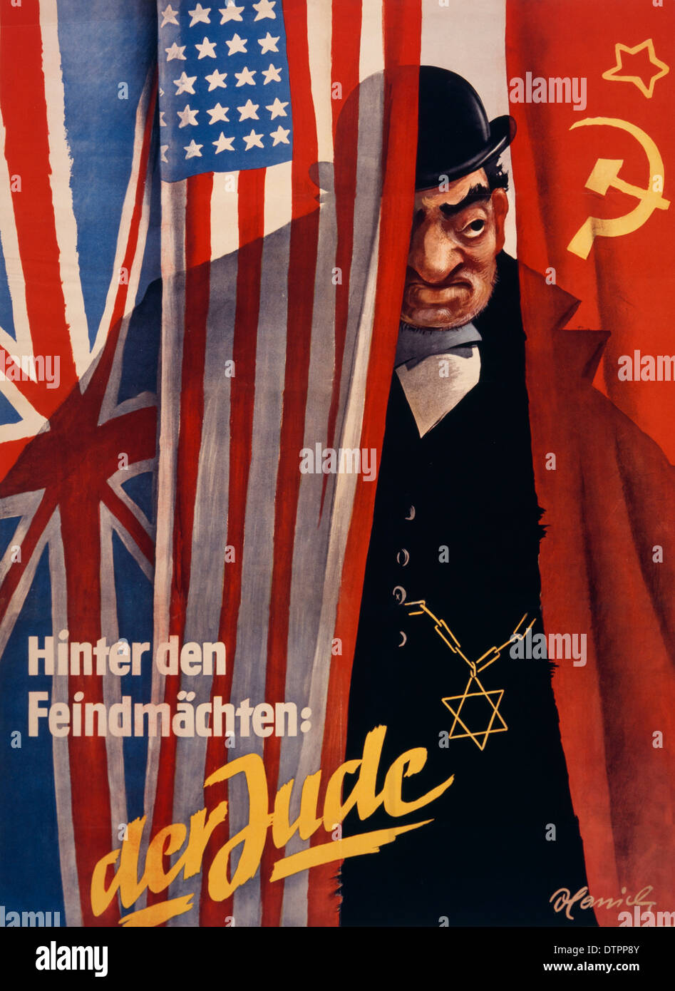 Anti Semitic propaganda poster from the German Nazi regime era in which the Jew is shown as a rich, fat and ugly looking man. - Stock Image