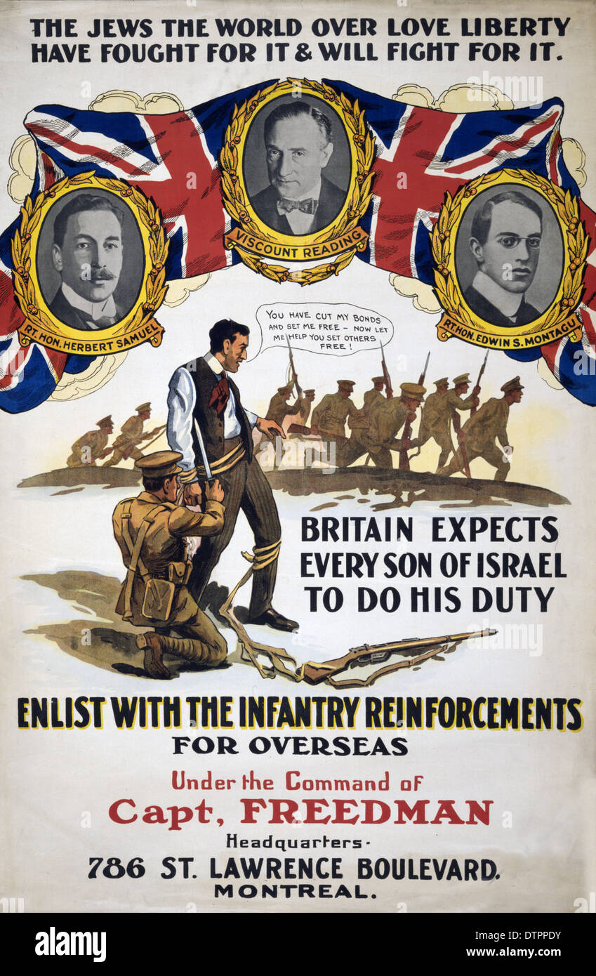 A Canadian WW1 Propaganda poster encouraging Jews to join military troops overseas - Stock Image