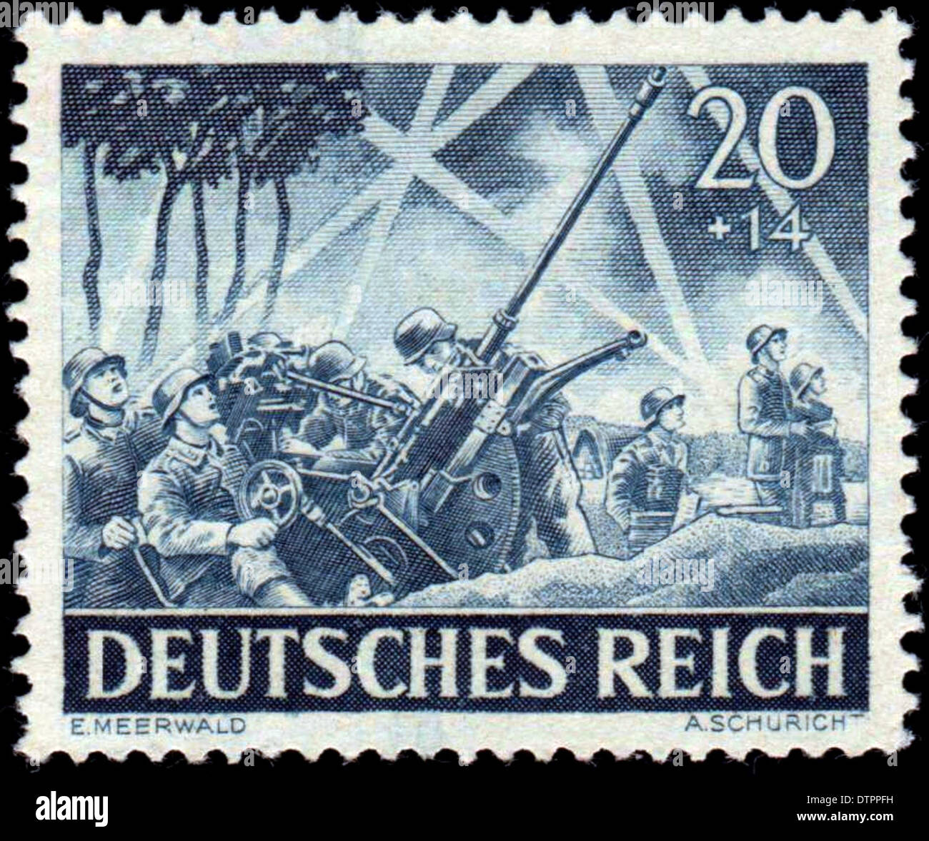 A German postage stamp from WW2 depicting German anti aircraft troops - Stock Image