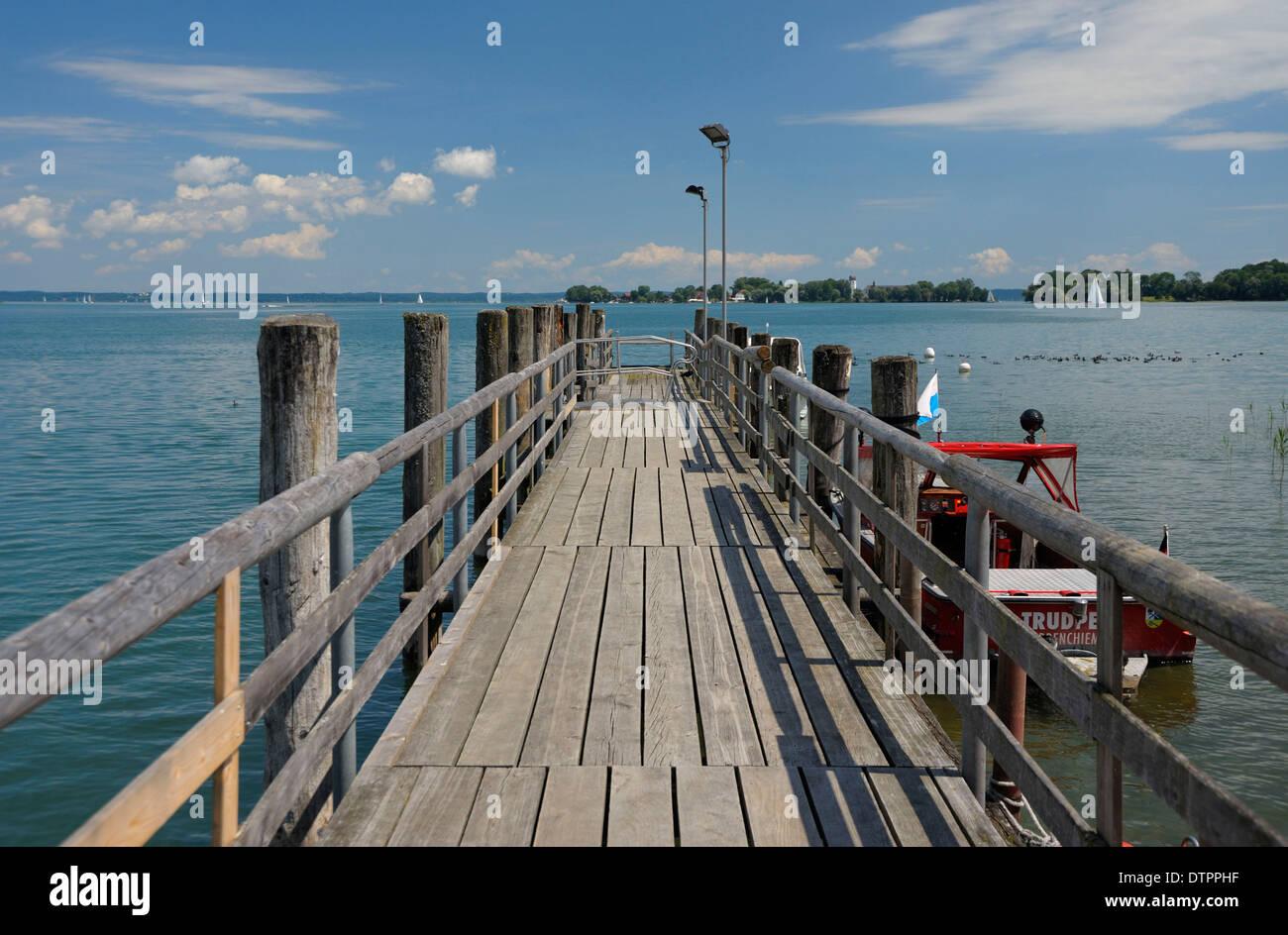 View to Fraueninsel, Chiemsee, Bavaria, Germany Stock Photo