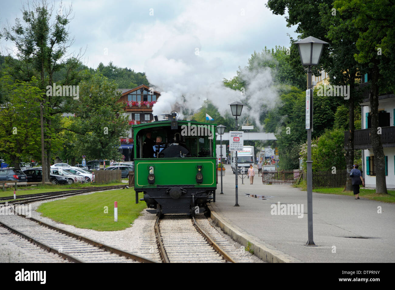 Chiemseebahn, railway in Prien, Chiemsee, Chiemgau, Bavaria, Germany Stock Photo