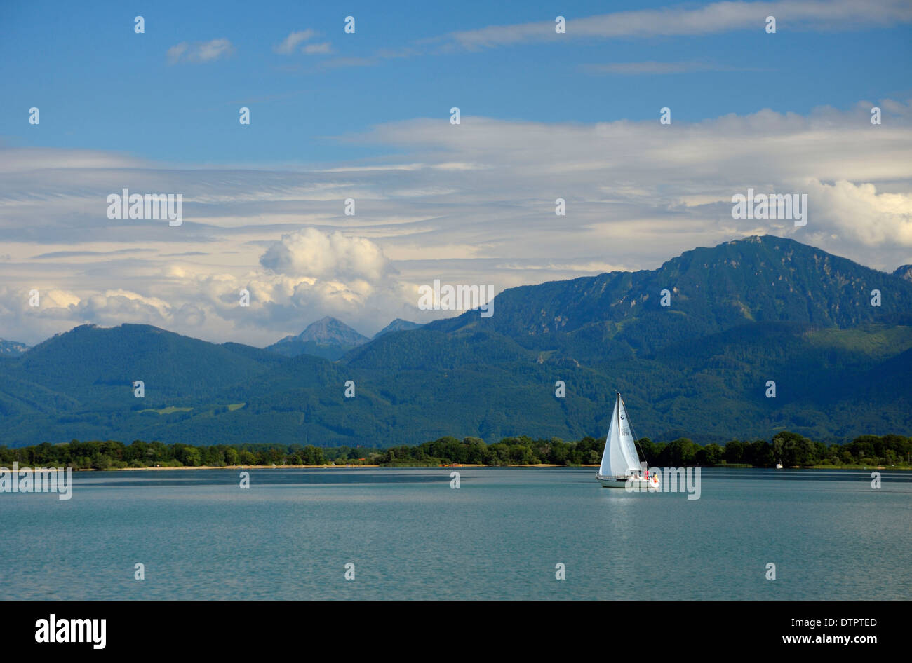 Sailboat on Chiemsee, Bavaria, Germany Stock Photo