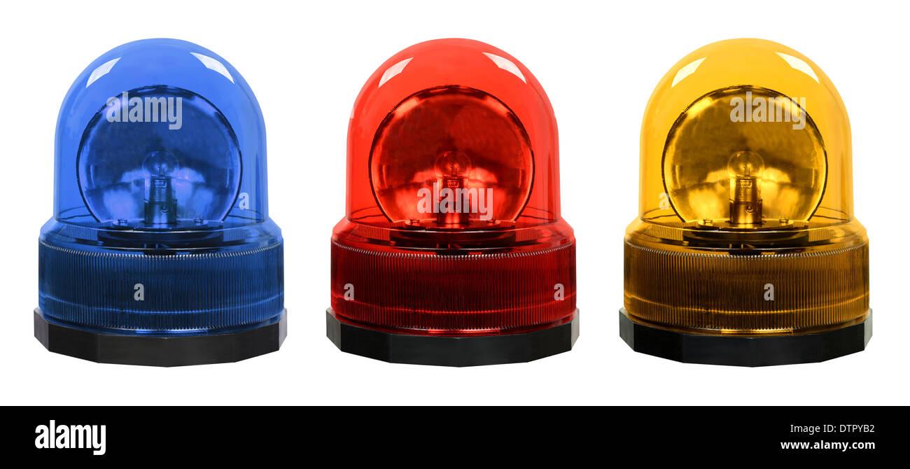 Emergency vehicle lighting blue red yellow warning rotating