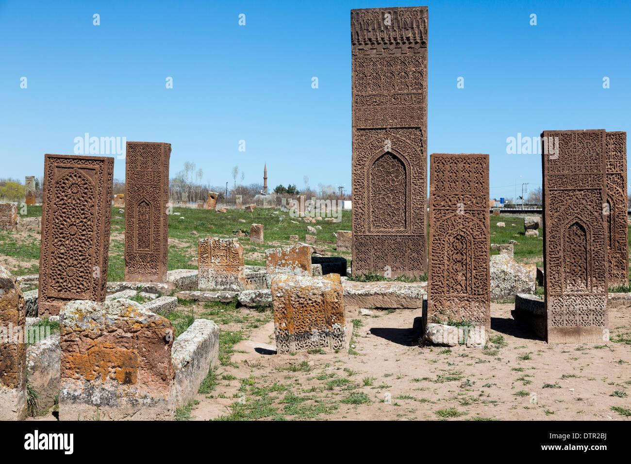 carved stone tombstones, Ahlat, Bitlis Province, Eastern Anatolia Region, Turkey - Stock Image