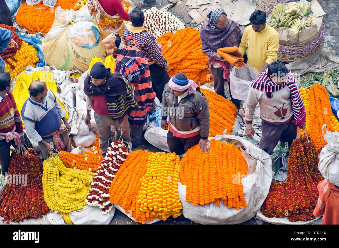 Flower sellers,Flower market,Kolkata,India. - Stock Image