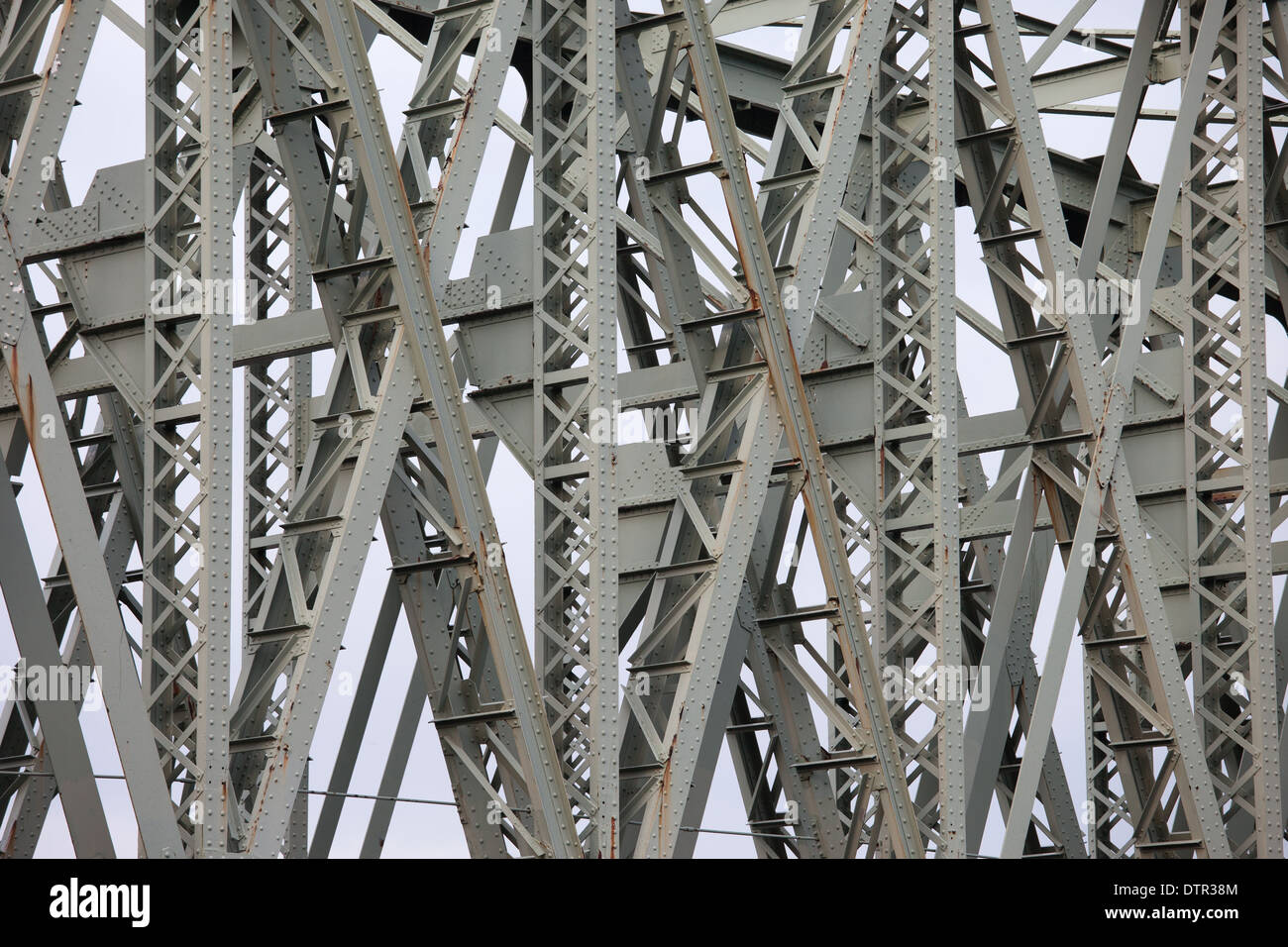 Closeup details of The Hef, railway lift bridge designed in 1927 by an engineer Peter Joosting, South Holland, the Stock Photo