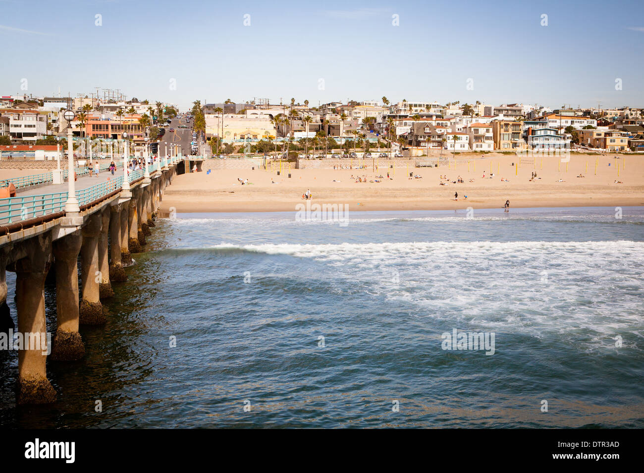 Los Angeles, USA - March 10 - Manhattan Beach and pier on a warm sunny day on March 10th 2011. - Stock Image
