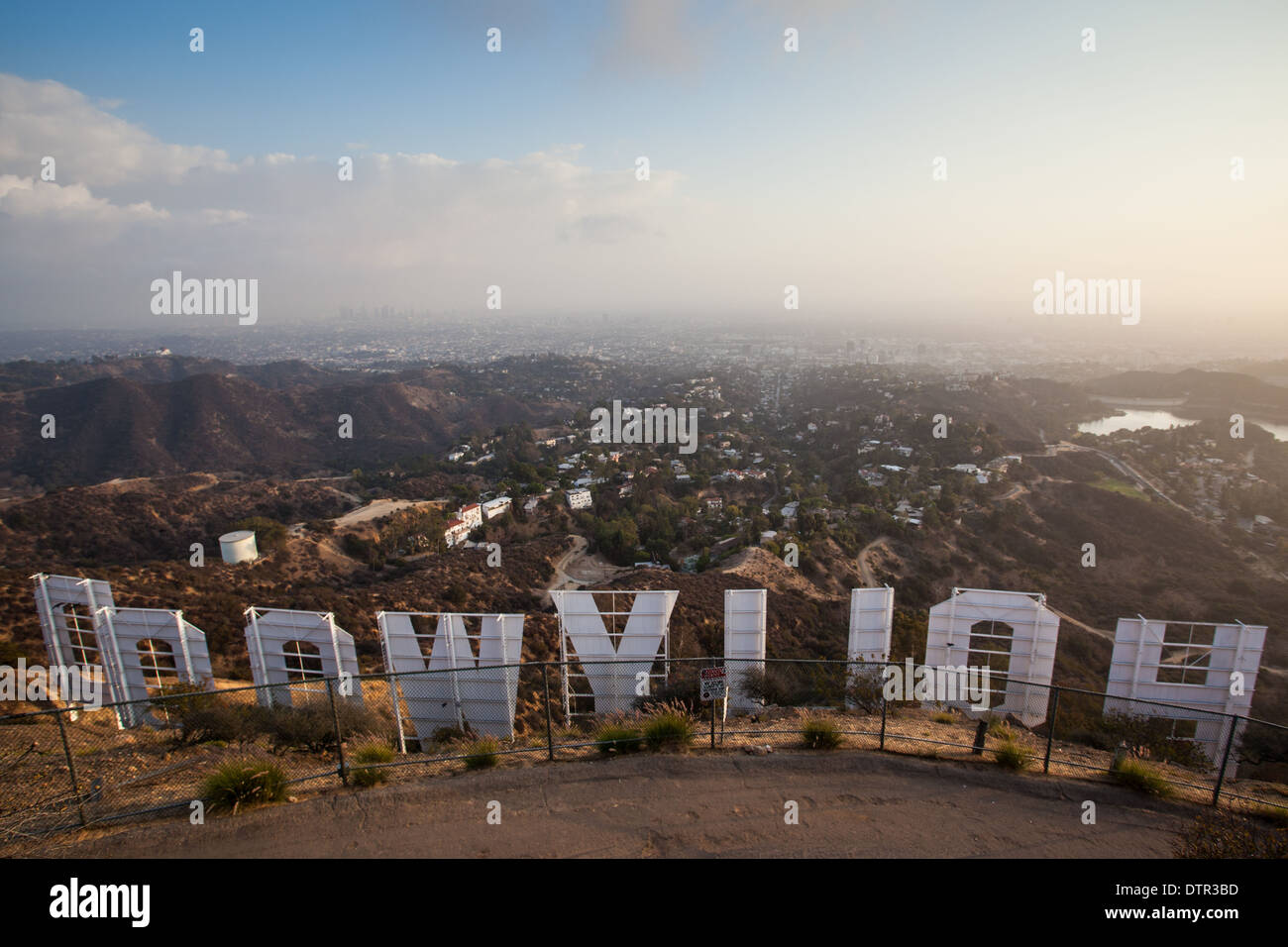 Los Angeles, USA - November 16 - The view over the Hollywood sign on November 16th 2013. - Stock Image