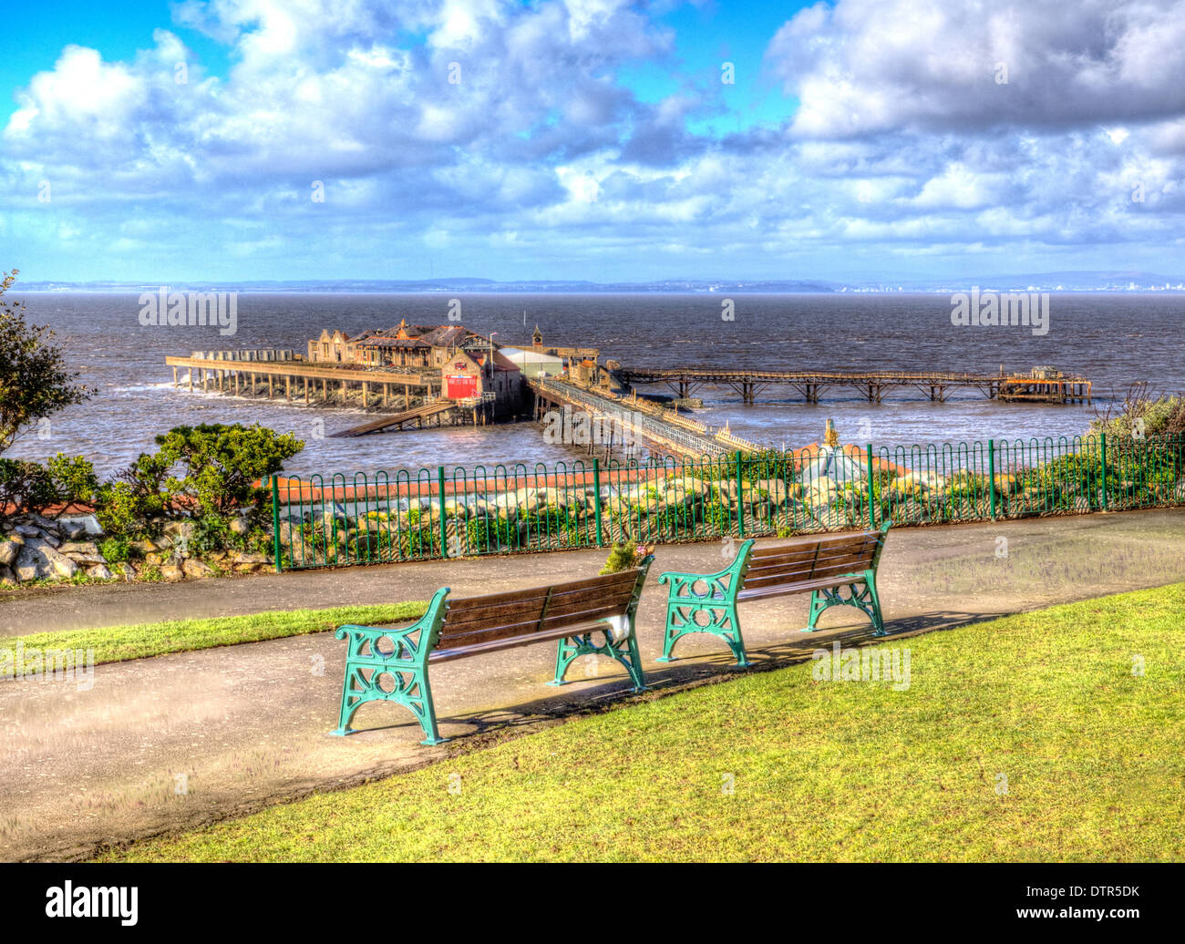 Birnbeck Pier Weston-super-Mare Somerset England historic English structure from Prince Consort Gardens - Stock Image