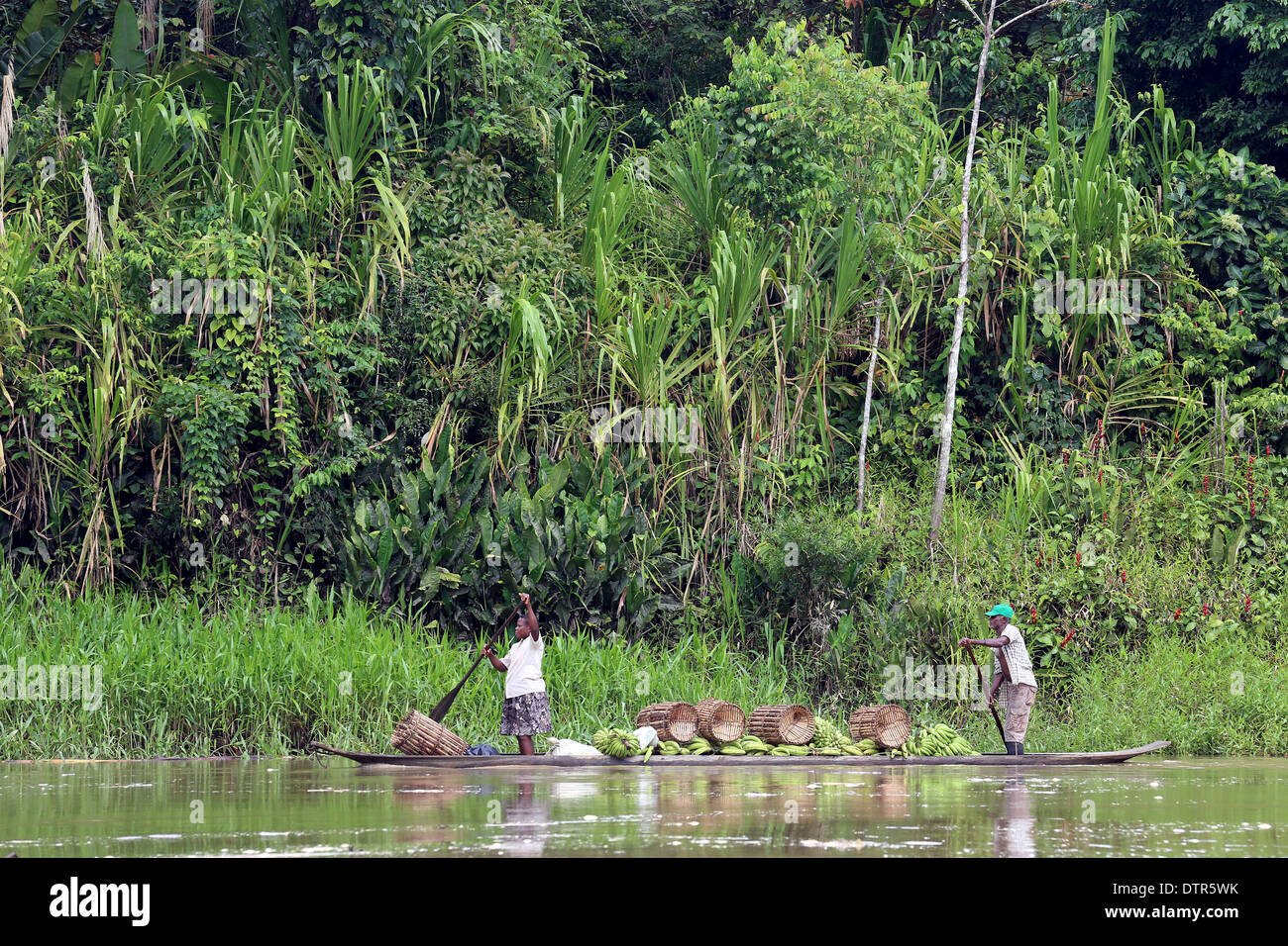 Dugout canoe boat loaded with bananas, river Rio Baude, Choco Province, Columbia, South Americas - Stock Image