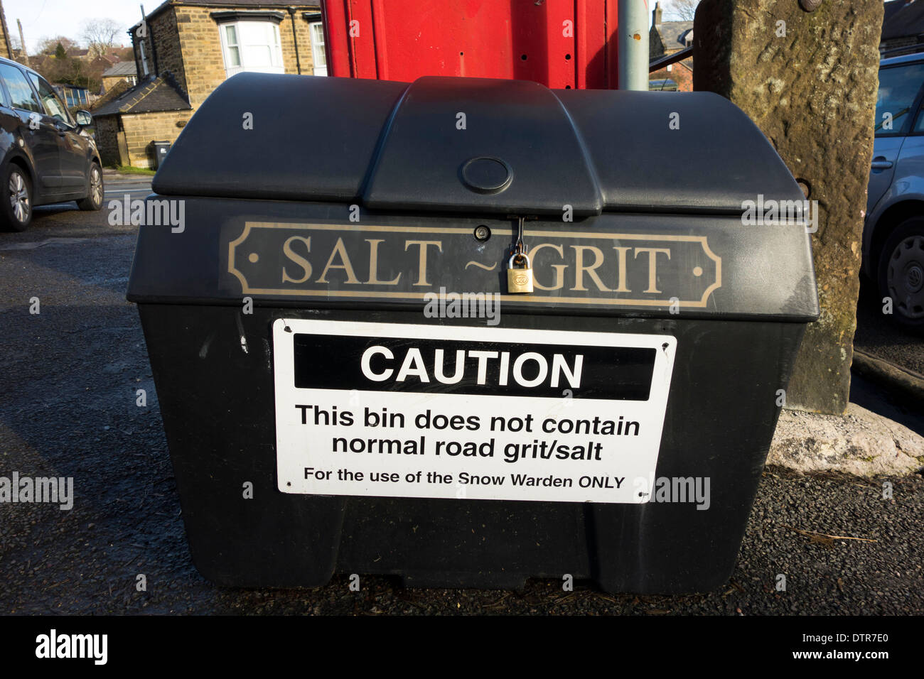 A grit bin in a village in the U.K. - Stock Image