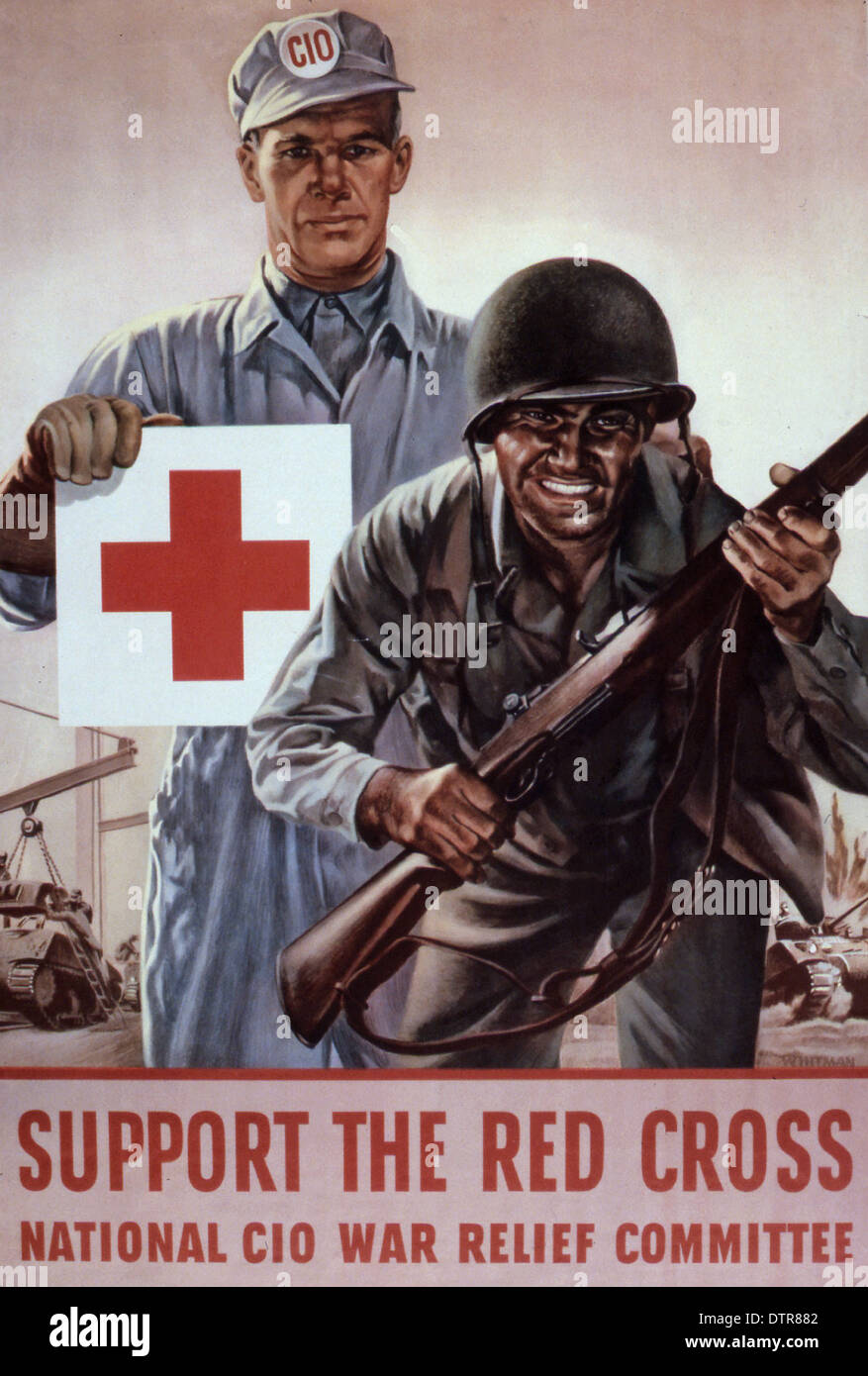 An American Red Cross propaganda poster to promote support for the Red Cross  during WW2 - Stock Image