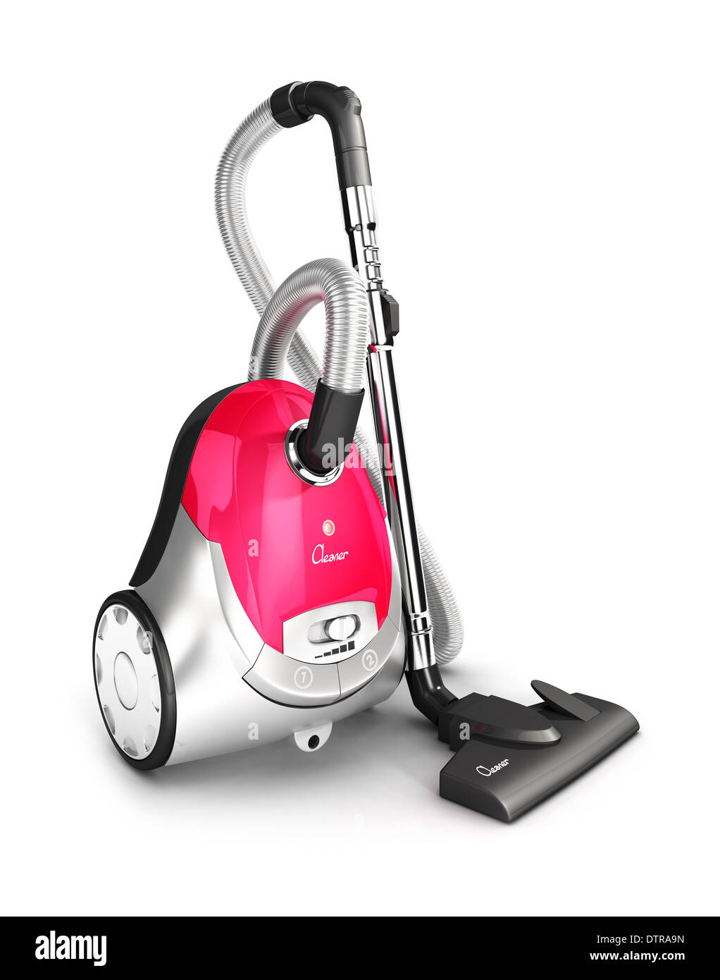 3d vacuum cleaner, isolated white background, 3d image Stock Photo