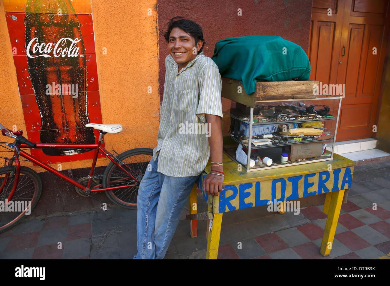 Man selling watches, Mercado Municipal, Granada, Nicaragua Stock Photo