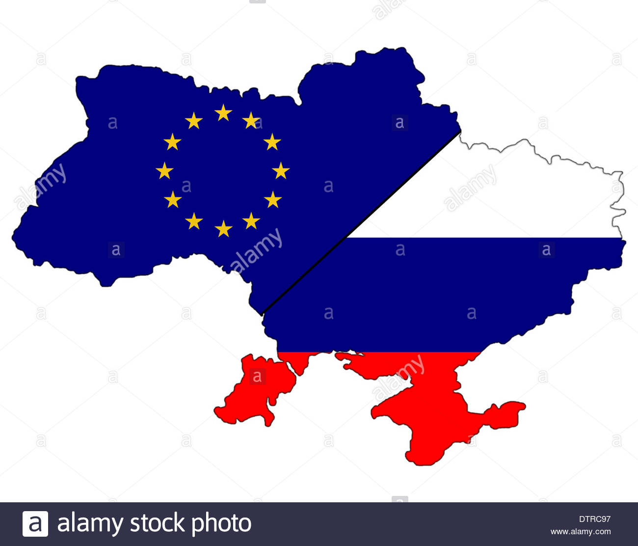 Map flag banner of the Ukraine separate in the Russian and European ...