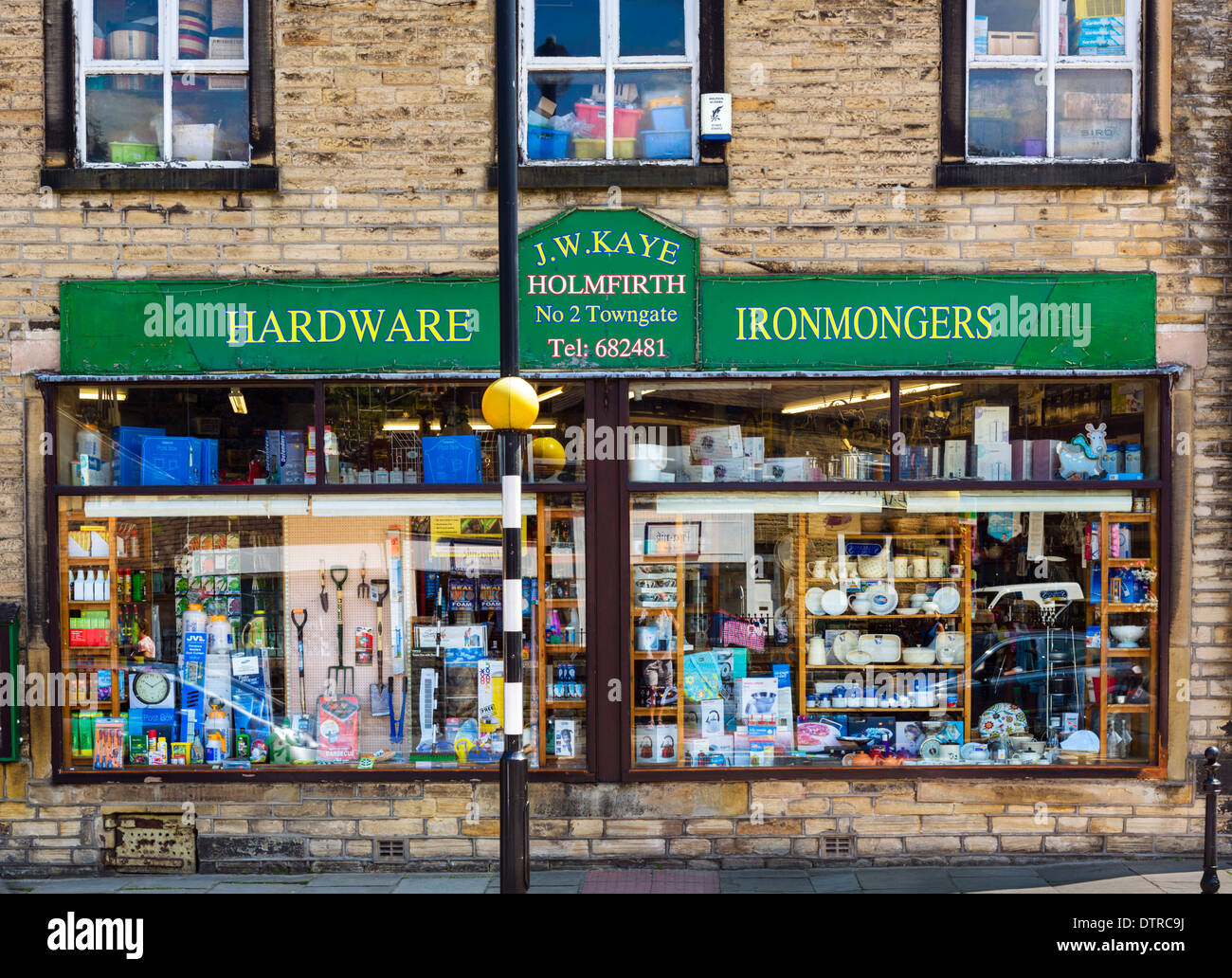 Traditional hardware store in the town centre, Holmfirth, West Yorkshire, England, UK - Stock Image