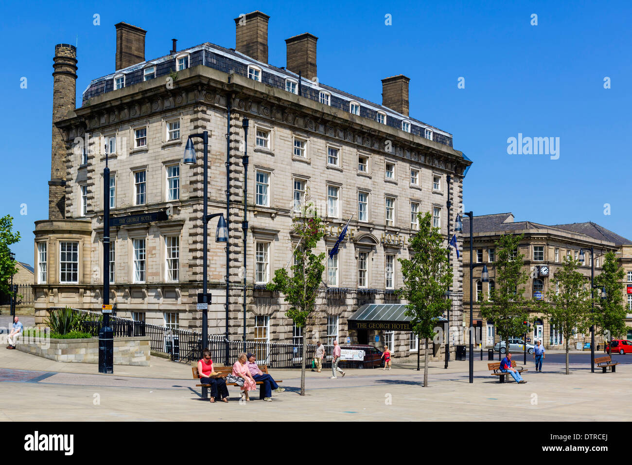 The George Hotel, where Rugby League was founded, St George's Square, Huddersfield, West Yorkshire, England, UK - Stock Image
